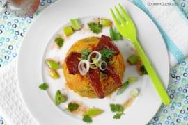 Bulgarsalat mit Sucuk-Chips und Granatapfeldressing #rezept #gourmetguerilla
