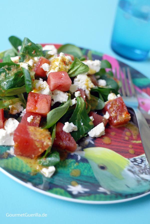 FUCTs Delight: Vogerlsalat (Feldsalat) mit Melone, Schafskäse und Thymian-Dressing