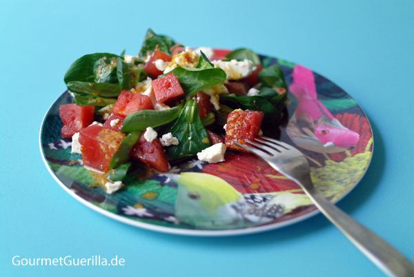 FUCTs Delight: Vogerlsalat (Feldsalat) mit Melone, Schafskäse und Thymian-Dressing |GourmetGuerilla.de