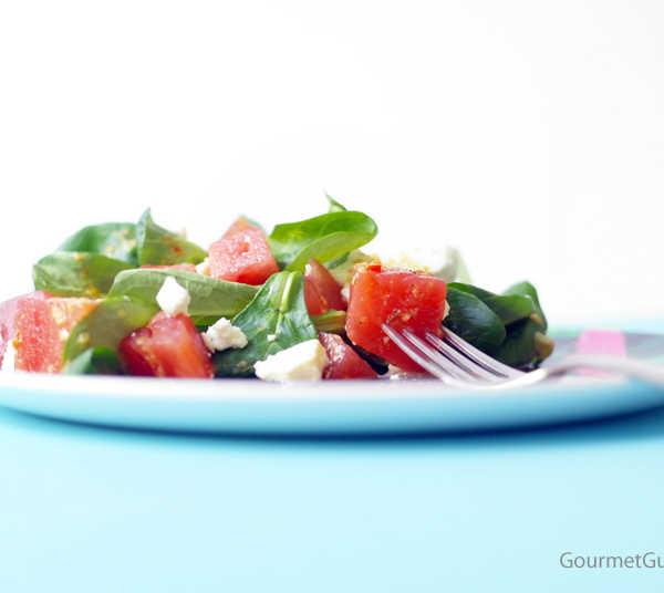 Vogerlsalat mir Melone Schafskäse und Thymiandressing #rezept #gourmetguerilla