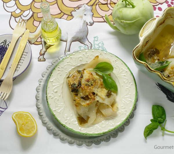 Kohlrabigratin mit Zitrone und Basilikum #rezept #gourmetguerilla