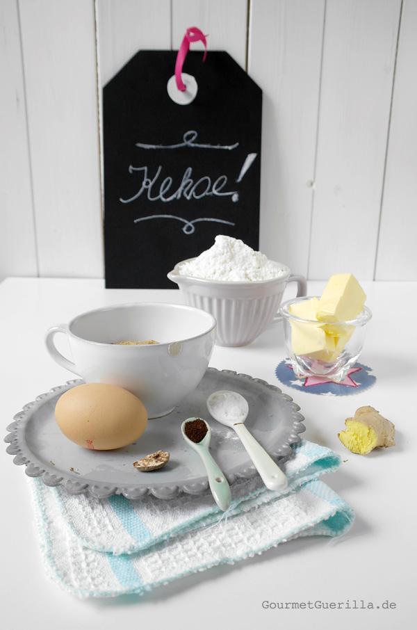 Zutaten für leckere Ingwer-Kekse in Streichholzform