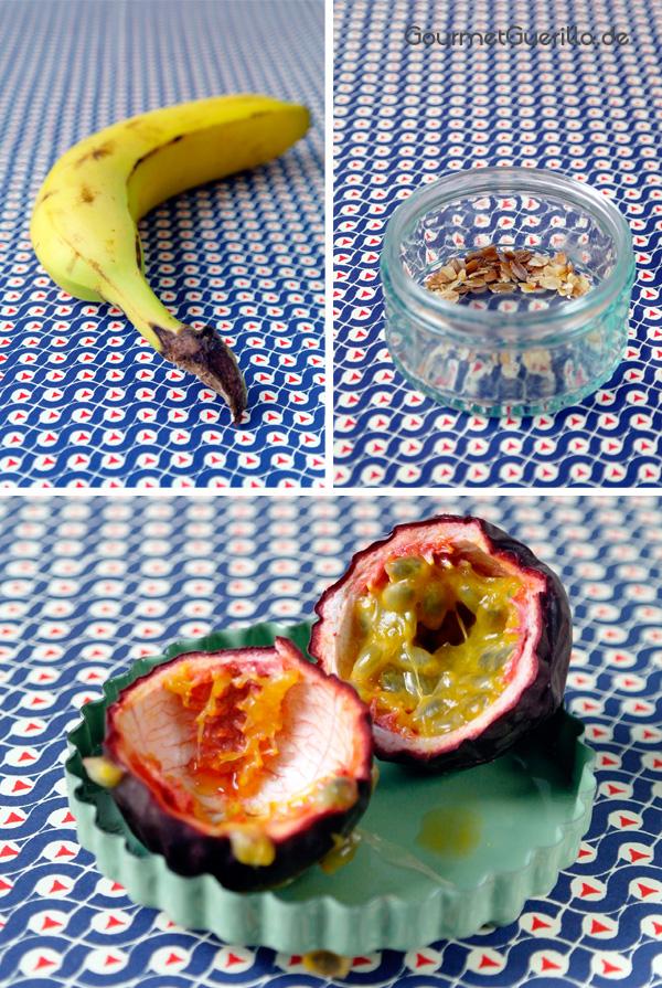 Banane, 6-Korn-Flocken in einem Glas und eine aufgrschnittene Maracuja