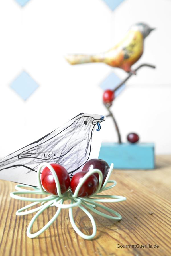 Cranberries mit Vogelzeichnung und Dekoration