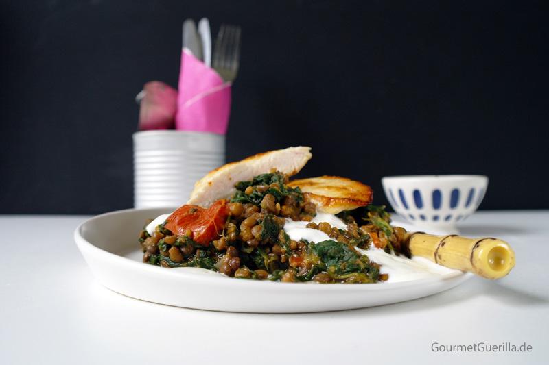 Würzige Hühnchen mit Spinat-Linsen |GourmetGuerilla.de