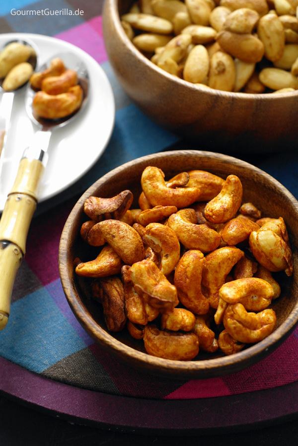 Rauchige Paprika-Cashews und Pikante Shouyu-Mandeln