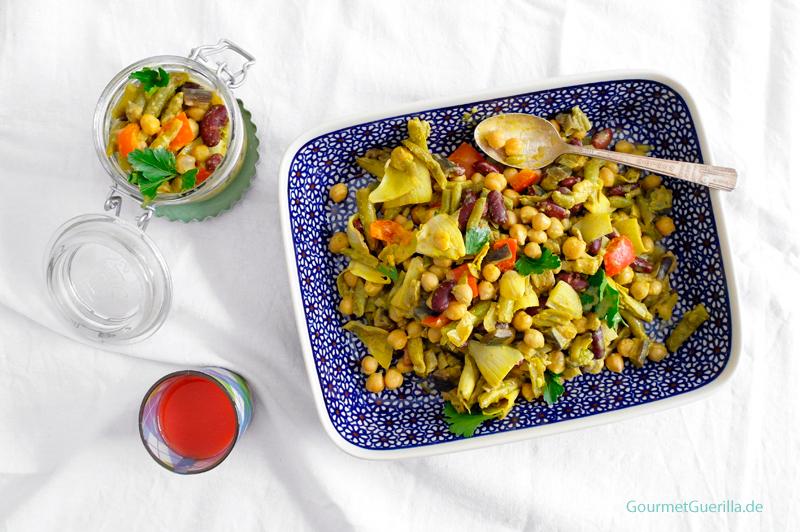 Kichererbsensalat mit Bohnen und Artischocken #rezept #gourmetguerilla