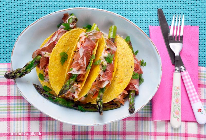Spargel Coleslaw mit Coppa-Röllchen in der Tacco-Schale #rezept #gourmetguerilla