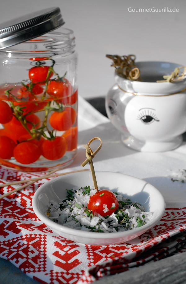 Beschwipste Tomaten #rezept #gourmetguerilla #appetizer #vegan