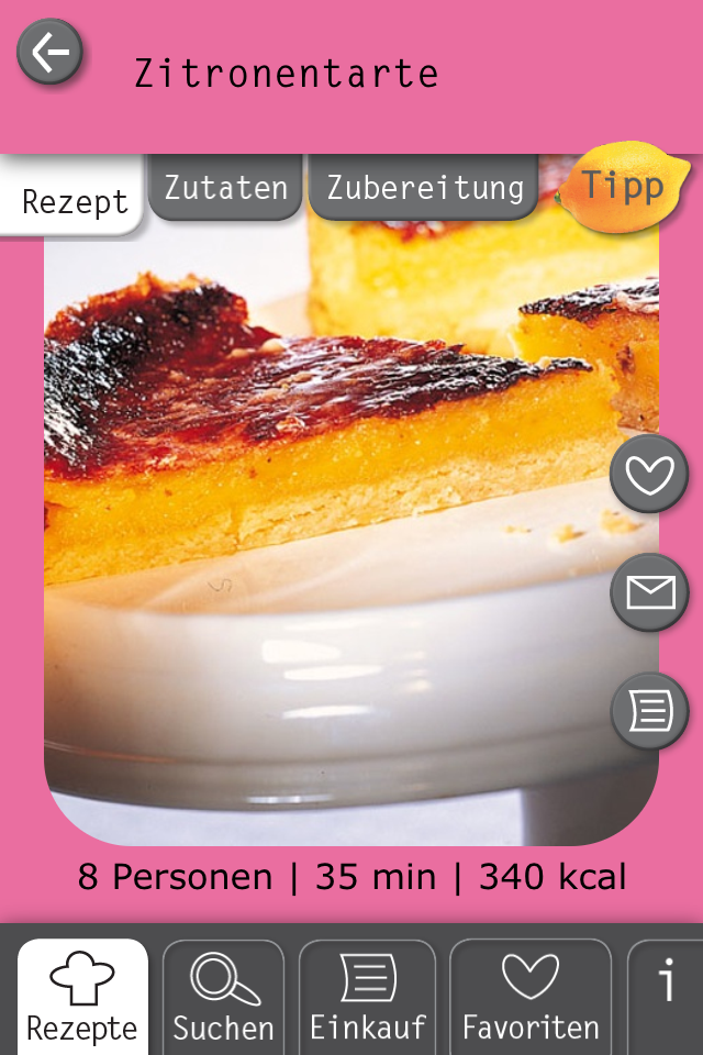Basic Cooking App Rezept Zitronentarte