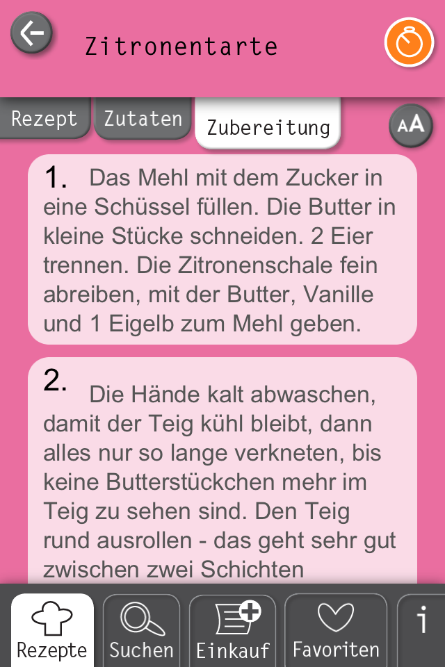 Basic Cooking App Rezept Zitronentarte Anleitung