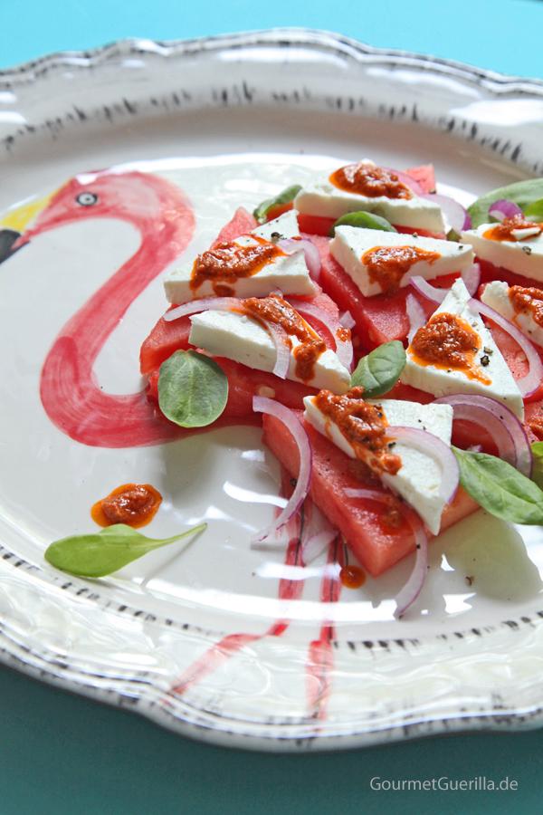 Flamingo-Caprese #rezept #gourmetguerilla #vegetarisch