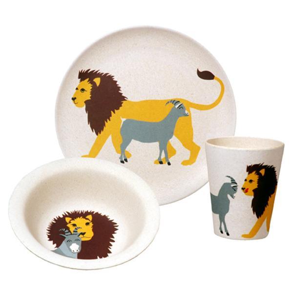 Nachhaltiges Kindergeschirr zuperzozial hungry lion set