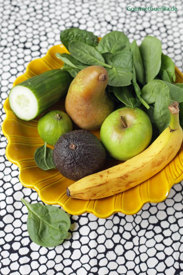 Green Smoothie am Stiel Zutaten #gourmetguerilla #rezept #vegan