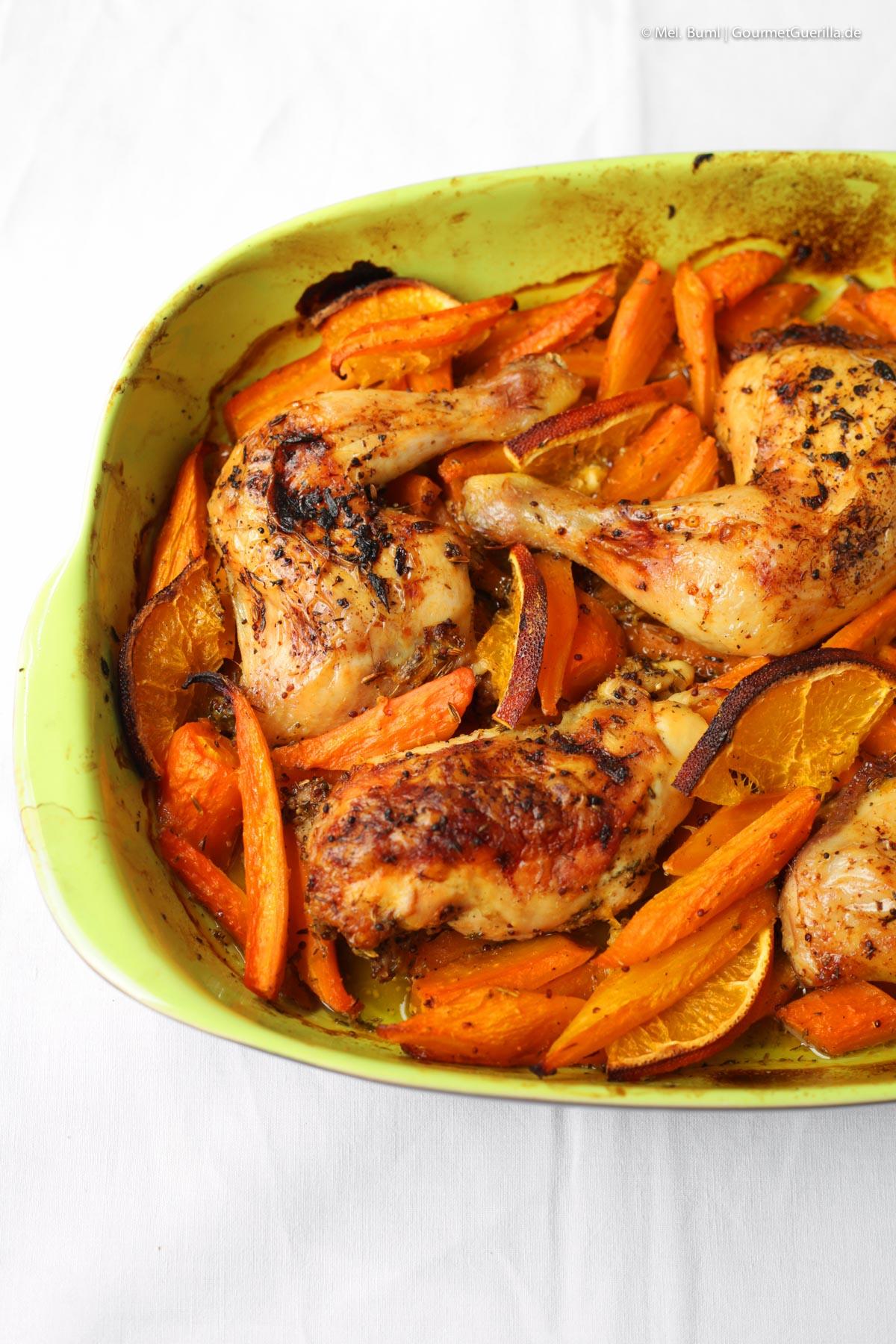 Gebackenes Hühnchen in Pernod-Dressing mit Möhren und Orangen |GourmetGuerilla.de