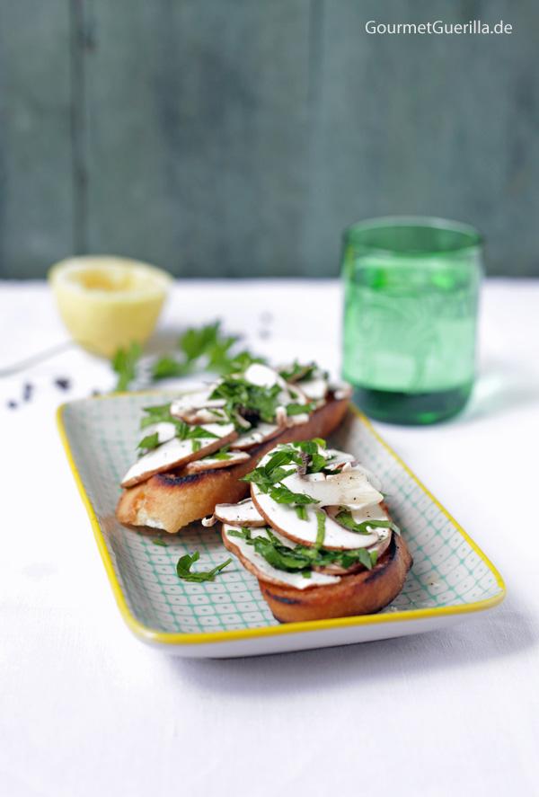 Sommerliches Champignon-Bruschetta #rezept #vorspeise #sommer #gourmetguerilla