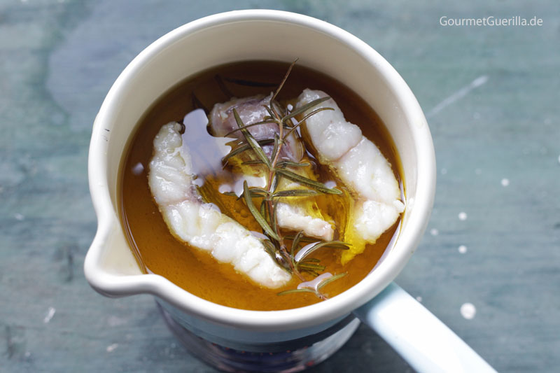 Rotbarsch in spanischem Olivenöl confieren #rezept #gourmetguerilla #fisch