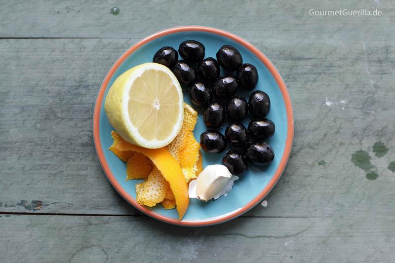 Zutaten für eine Oliven-Gremolata für in Olivenöl confierten Fisch #rezept #gourmetguerilla
