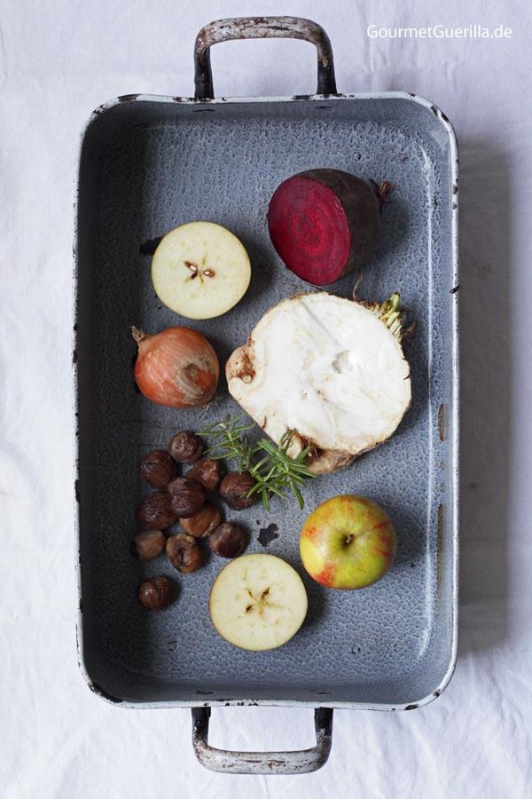 Zutaten Herbstrosa Apfel-Maronensuppe mit handfesten Schinken-Croutons #rezept #herbst #gourmetguerilla #maronen