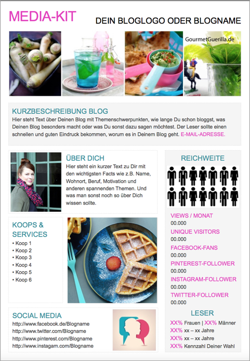 Blogger Media Kit Vorlage Free Download Template PowerPoint | GourmetGuerilla.de