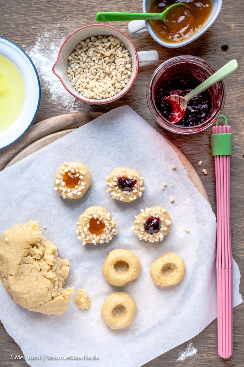 Mit Marmelade gefüllte Keksrezept fuer Kulleraugen |GourmetGuerilla.de