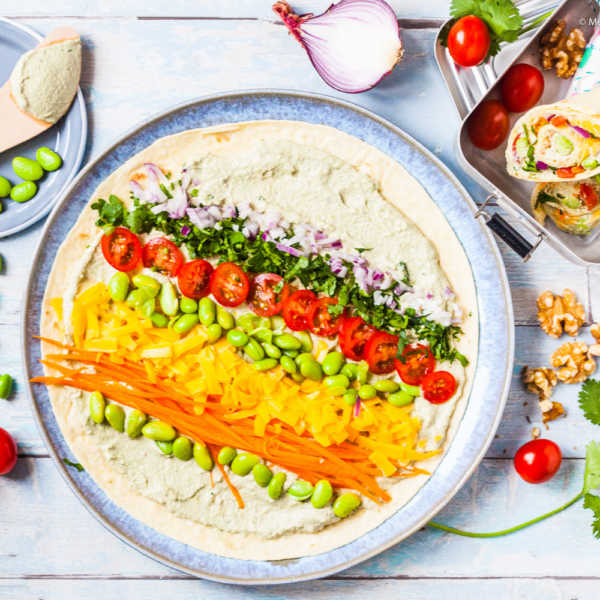 California Frühstücks-Wrap mit Edamame-Walnuss-Aufstrich  GourmetGuerilla.de
