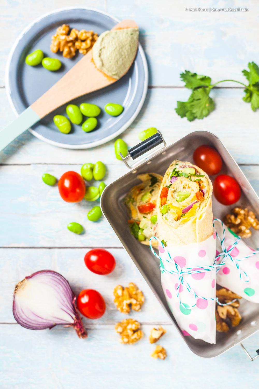 California Frühstücks-Wrap mit Edamame-Walnuss-Aufstrich |GourmetGuerilla.de