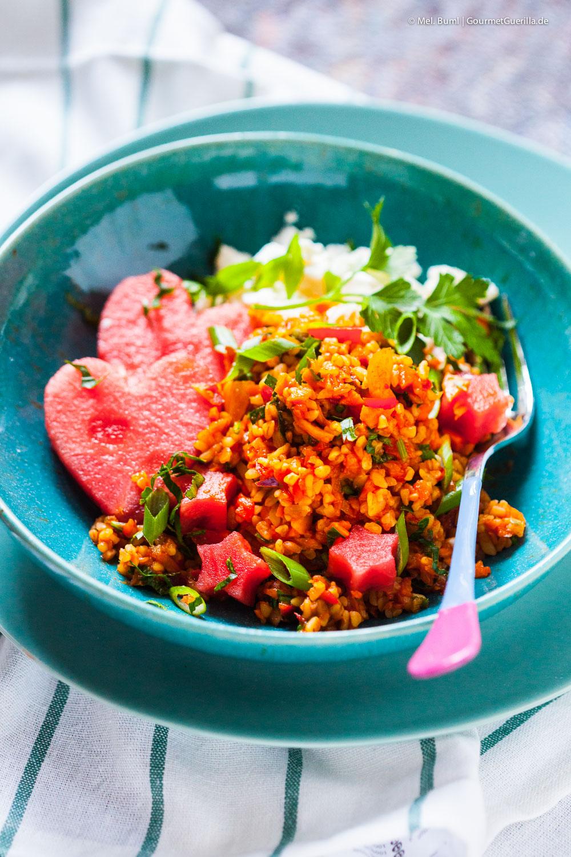 Fixer Bulgur-Gemüse-Salat mit Melone und Feta |GourmetGuerilla.de