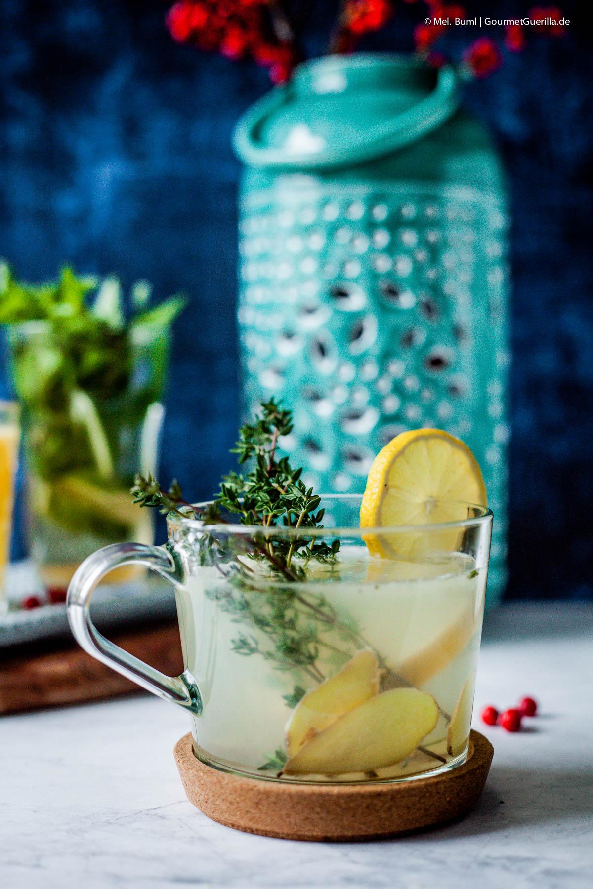 Heiße Thymian-Zitrone mit Ingwer und 4 süffige und schnelle DYI-Tees für Herbst und Winter |GourmetGuerilla.de