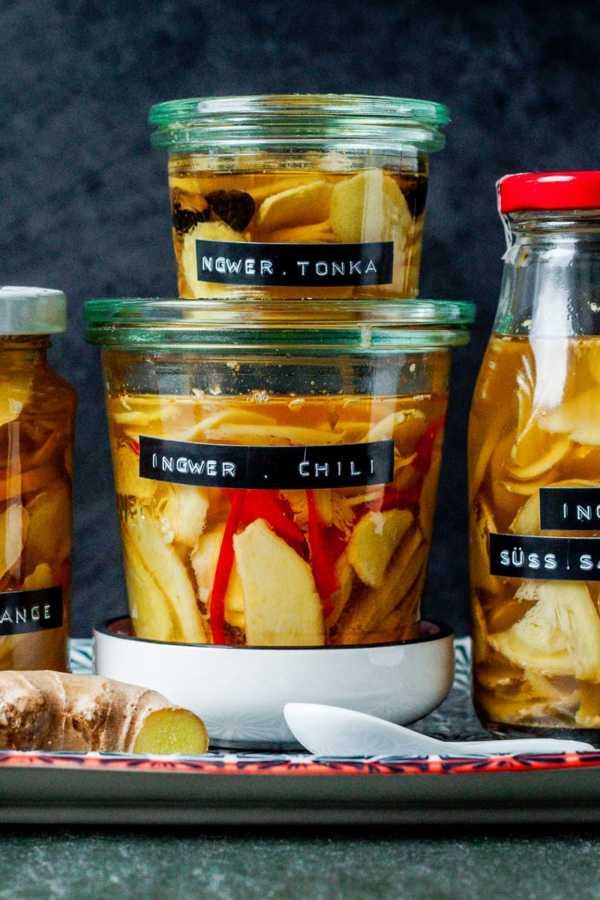 {Pickles} Schneller, selbst eingelegter Ingwer pur, mit Chili, Orange oder Tonkabohne |GourmetGuerilla.de