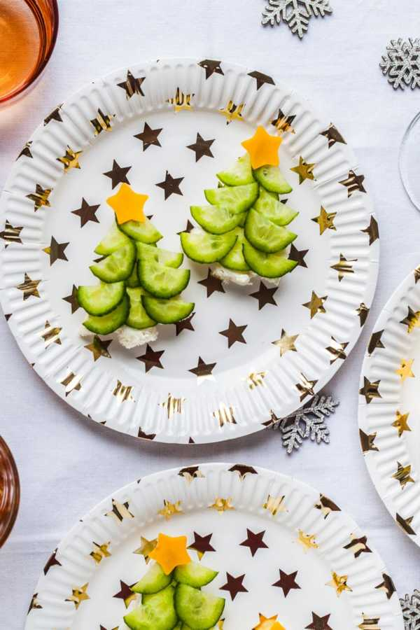 Tannenbaum-Häppchen mit Gurke und Frischkäse |GourmetGuerilla.de