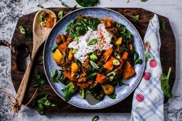 Low Carb Tikka Curry Hack-Pfanne mit Hokkaido und Spinat - in 20 Min. fertig und 500 kcal  GourmetGuerilla.de