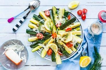 Zucchini- Salat mit Ziegenkäse, Dill und Zitrone  GourmetGuerilla.de