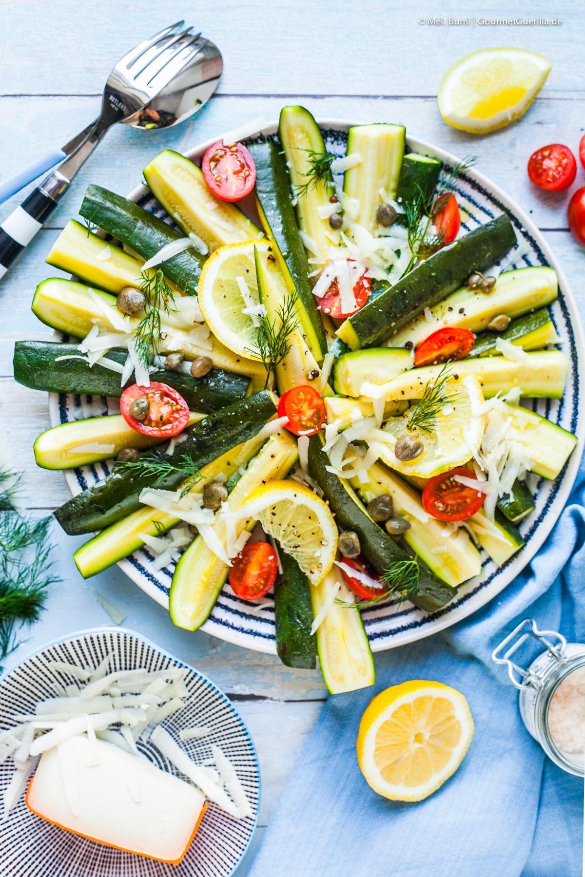Zucchini- Salat mit Ziegenkaese, Dill und Zitrone |GourmetGuerilla.de