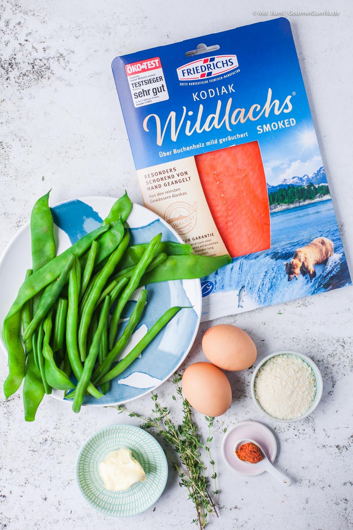 Zutaten für Frische grüne Bohnen mit Räucherlachs, Ei und scharfem Knusper-Panko |GourmetGuerilla.de