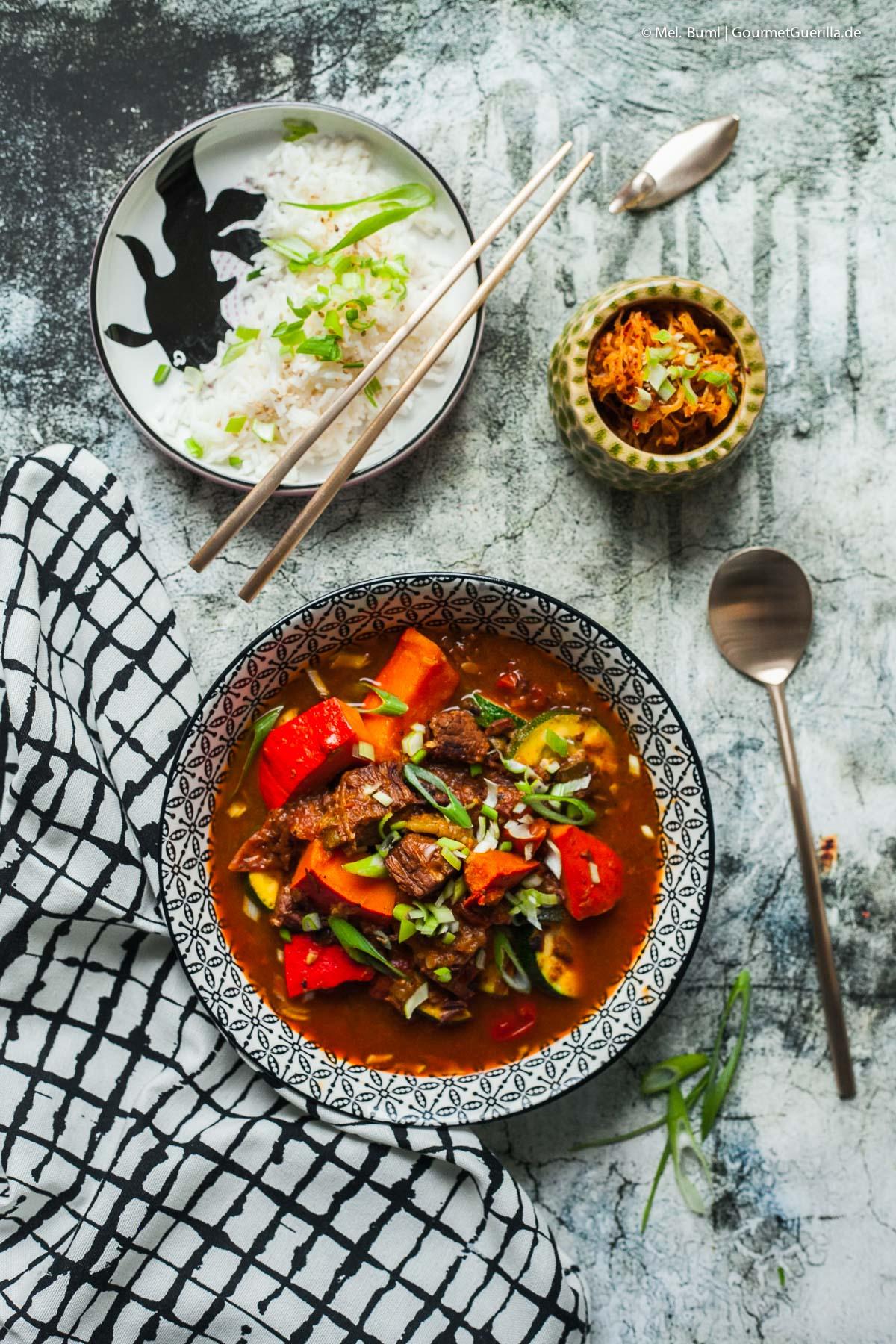 Herbstliches koreanisches Gulasch Gochujang mit Kürbis |GourmetGuerilla.de