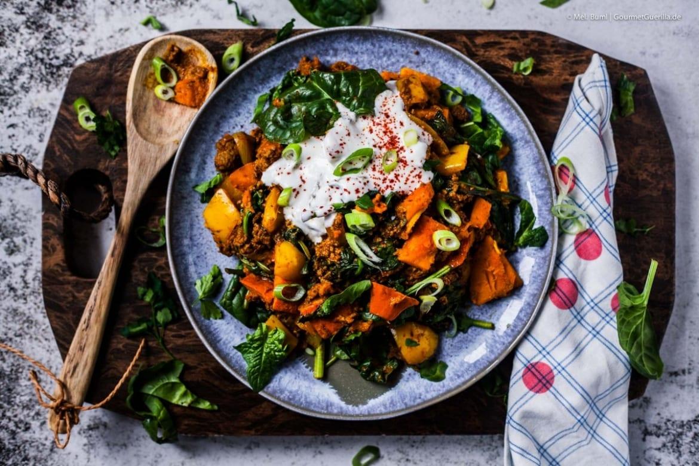 Low Carb Tikka Curry Hack-Pfanne mit Hokkaido und Spoinat-in 20 Min. fertig und 500 kcal |GourmetGuerilla.de