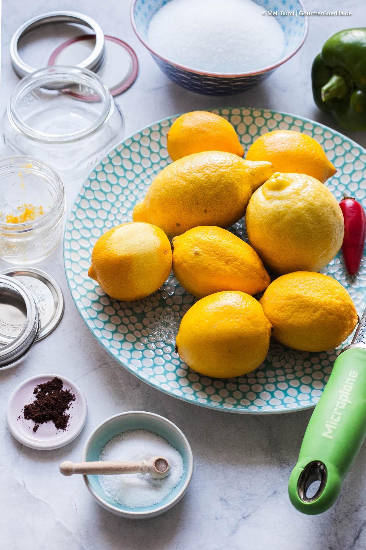 Zutaten für Pikante Zitronenmarmelade - perfekt zu Käse |GourmetGuerilla.de