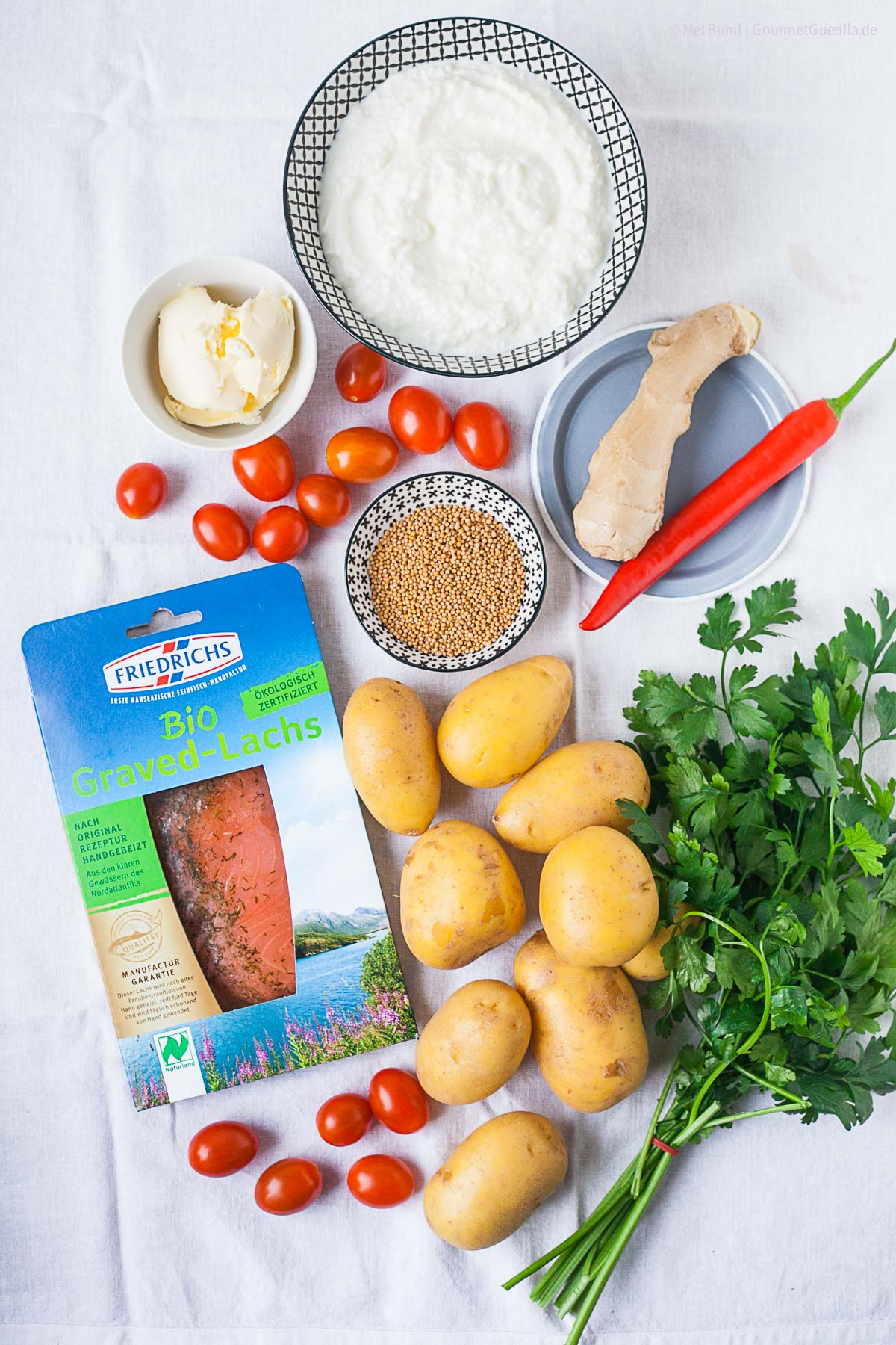 Zutaten für Ayurvedischen Kartoffelsalat mit Graved Lachs |GourmetGuerilla.de