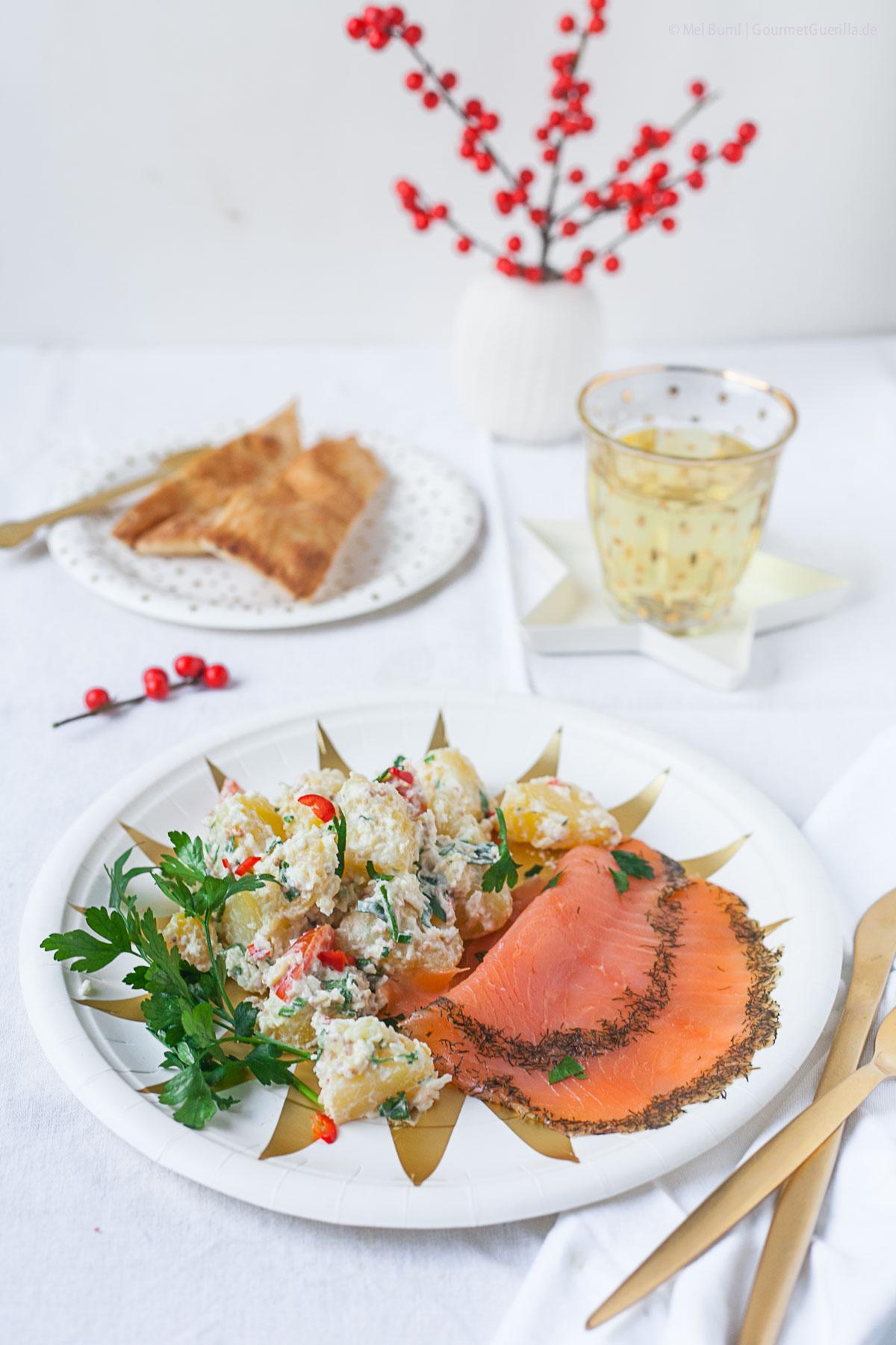 Ayurvedischer Kartoffelsalat mit Graved Lachs |GourmetGuerilla.de