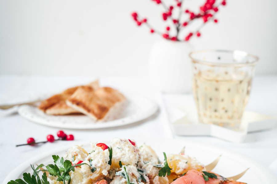 Ayurvedischer Kartoffelsalat mit Graved Lachs zu Weihacnhten oder Silvester |Gourmetguerilla.de