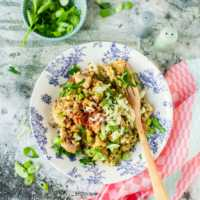Pilz-Kräuter-Quinotto mit Speck und Käse Risotto mit Quinoa  GourmetGuerilla.de