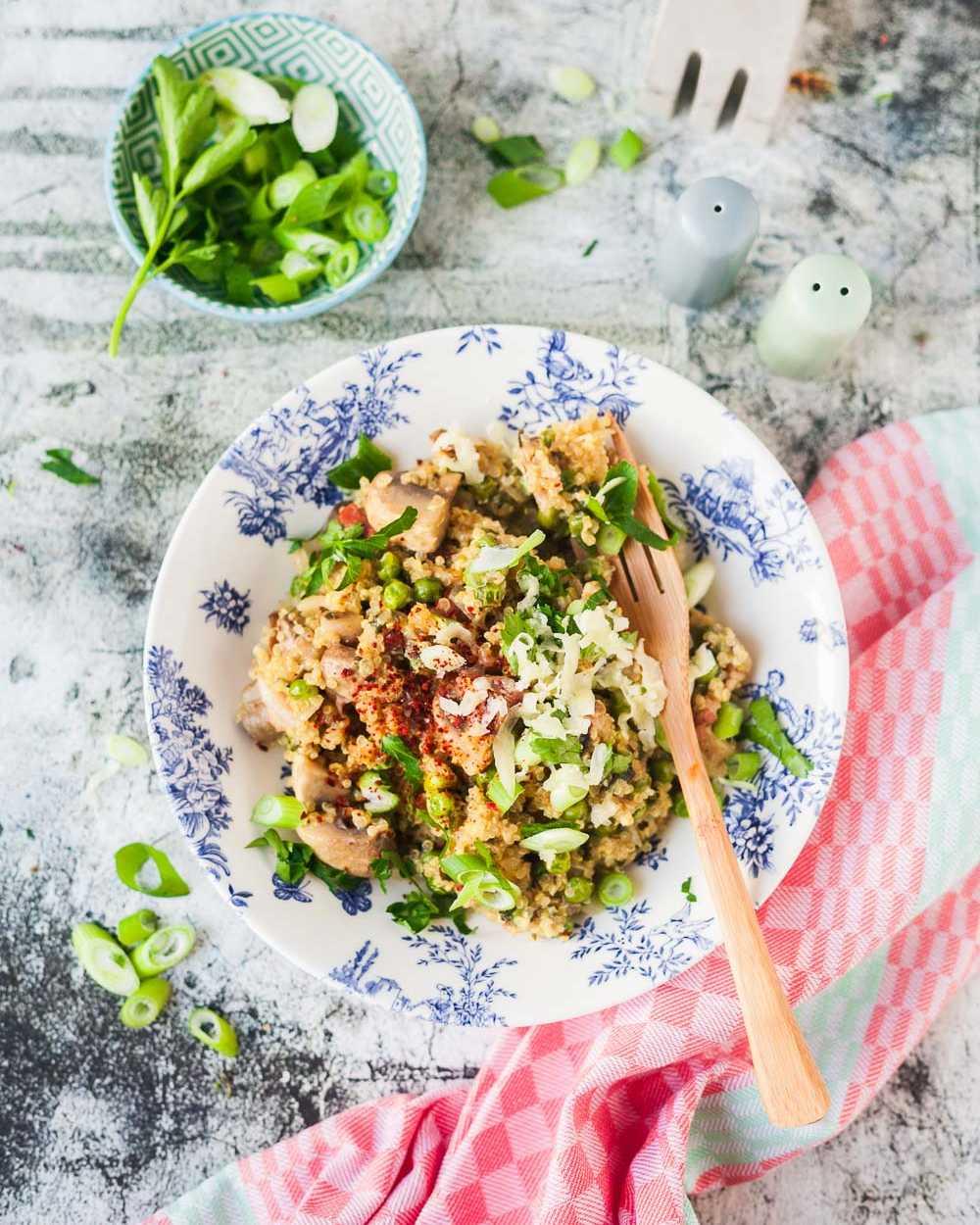 Pilz-Kräuter-Quinotto mit Speck und Käse Risotto mit Quinoa |GourmetGuerilla.de