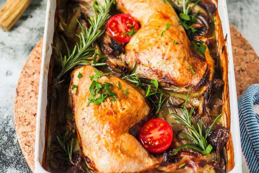 Ofen-Hähnchen in Zwiebel-Sahne-Soße |GourmetGuerilla.de
