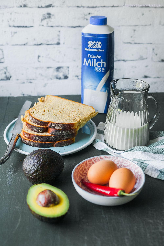 Zutaten Herzhafter French Toast mit Avocado aus dem Ofen mit Spargelsalat | GourmetGuerilla.de