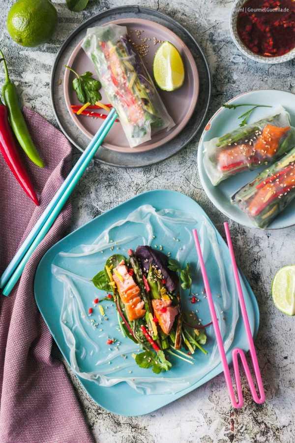 Sommerrollen mit Stremel-Lachs, grünem Spargel und Teriyaki-Dip |GourmetGuerilla.de