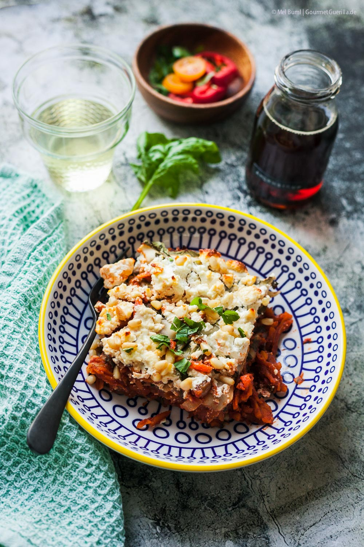 Orientalische Möhren-Spinat-Lasagne - vegetarischer Nudelauflauf mit Ahornsirup |GourmetGuerilla.de
