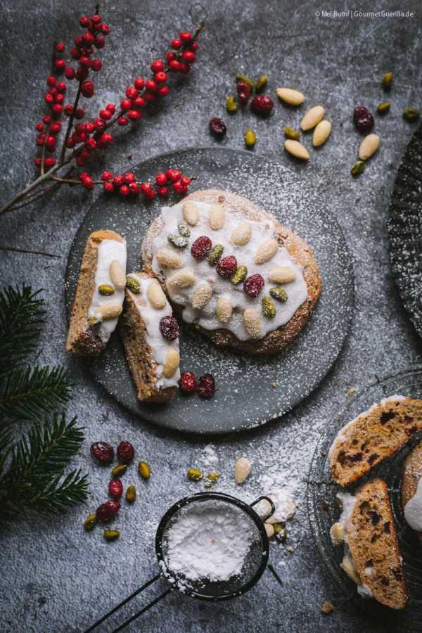 Kleine Mandel-Joghurt-Stollen mit Cranberries –schnelles Chrsitstollen-Rezept ohne Hefe |GourmetGuerilla.de
