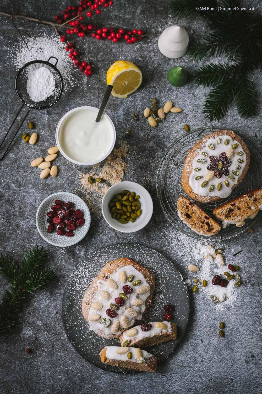 Zutaten Kleine Mandel-Joghurt-Stollen mit Cranberries –schnelles Chrsitstollen-Rezept ohne Hefe |GourmetGuerilla.de