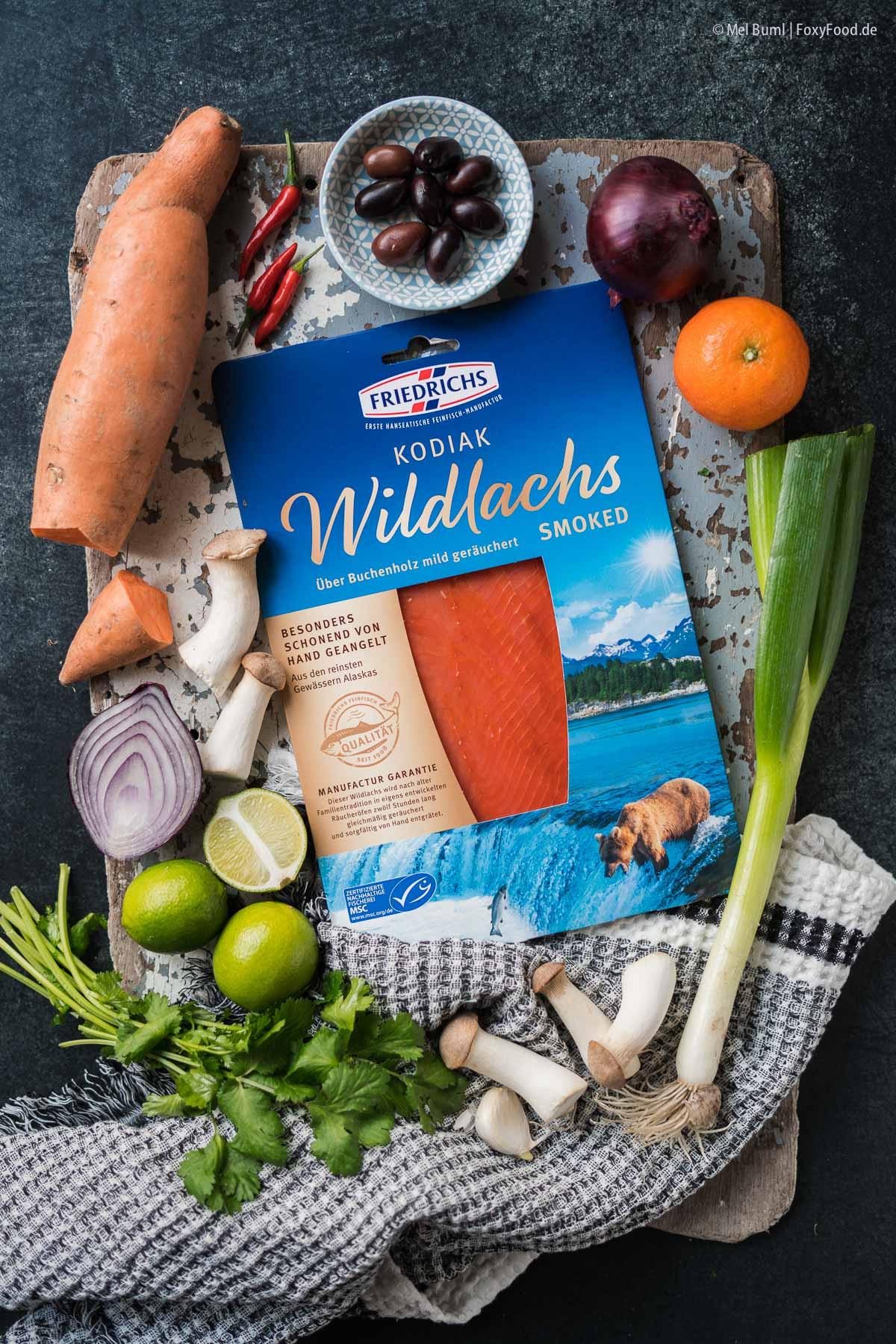 Zutaten für Winterliche Ceviche von Pilzen und Süßkartoffel mit geräuchertem Wildlachs |FoxyFood.de